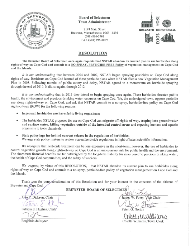 NSTAR  Signed resolution