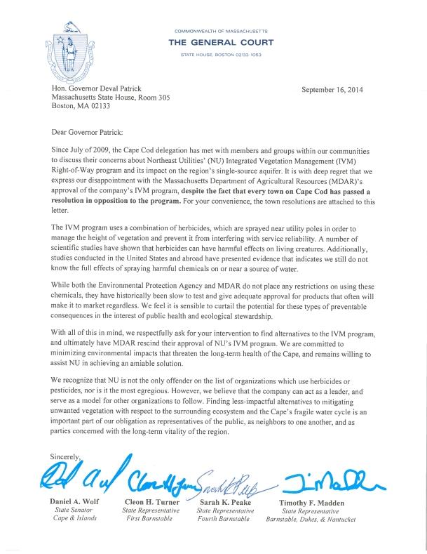 2014-09-15 NSTAR Herbicide Letter to Gov-1