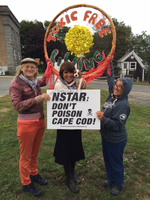 Laura Kelley and Demonstrators Oct. 1, 2015, Barnstable County Court House